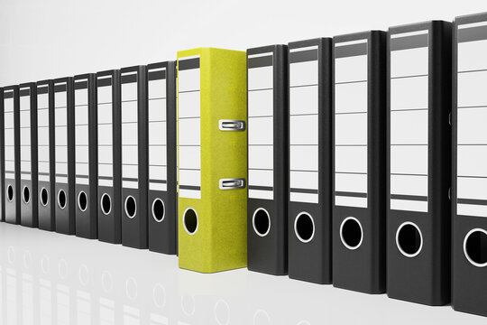 large row of black office folders with one yellow binder, conceptual archive 3D Illustration