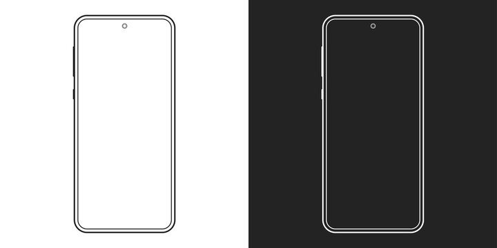 Smartphone outline icon. Mobile or cell phone screen frame design. Modern smart device line silhouette. Vector illustration.