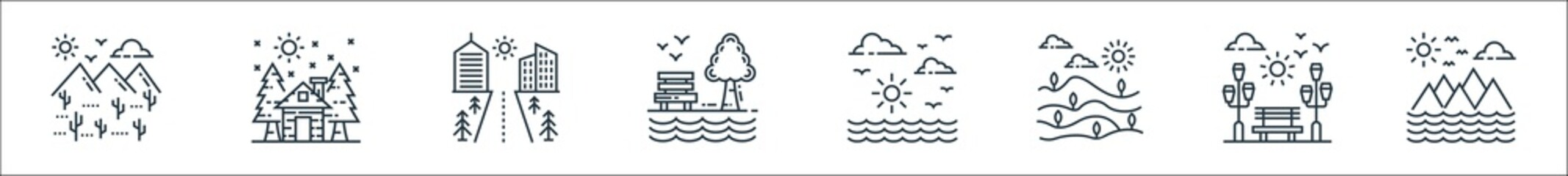 nature and landscape line icons. linear set. quality vector line set such as mountain, garden, field, sun, garden, cityscape, cottage.