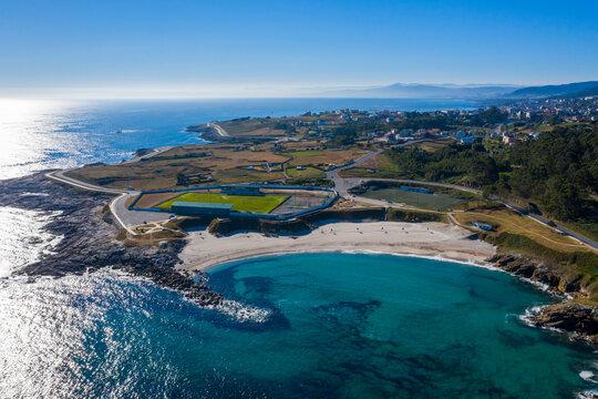 Aerial view of Burela,s beach  in Galicia