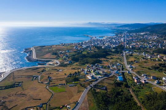 Aerial view of Burela town in Galicia