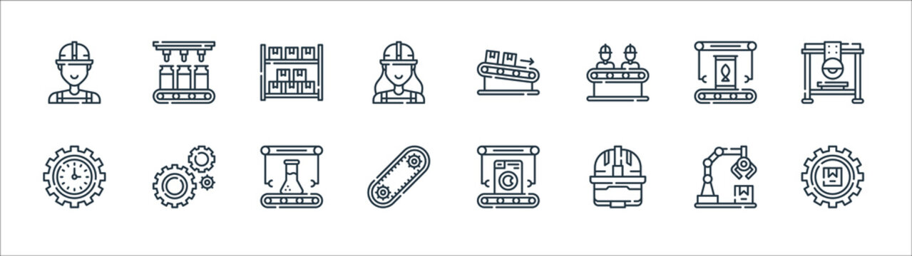 mass production line icons. linear set. quality vector line set such as package, hard hat, automation, productivity, food, warehouse, packages, orange juice.