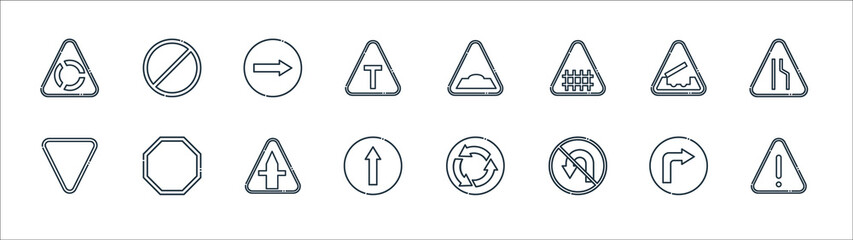 signaling line icons. linear set. quality vector line set such as danger, no turn, ahead only, yield, bridge, turn right, hump, no stopping. Wall mural