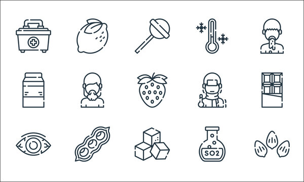 allergies line icons. linear set. quality vector line set such as sesame, sugar cube, eye, sulfite, soybean, milk, fever, cold, lemon.