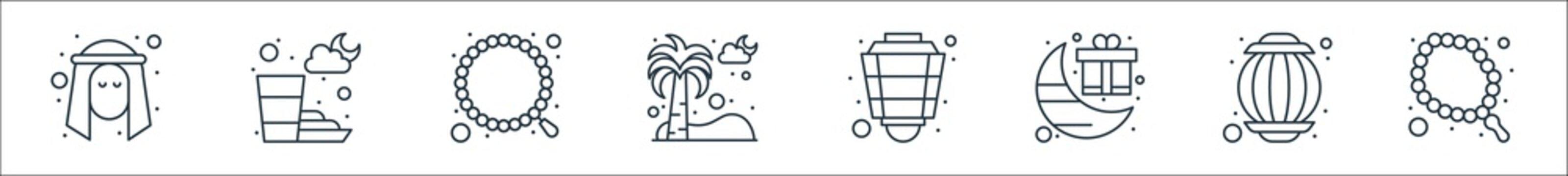 islam and ramadan line icons. linear set. quality vector line set such as rosary, lantern, gift, lantern, palm tree, rosary, ramadan.