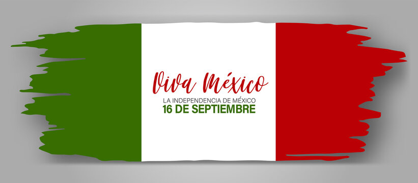 Independence Day banner. Viva Mexico. 16 September national holiday. Grunge shape. Green, white, and red waving Mexican flag. Vector illustration.