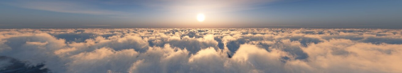 Beautiful panorama of clouds at sunrise, sunset above the clouds, among the clouds, 3D rendering