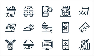 food delivery line icons. linear set. quality vector line set such as grocery, website, drone, promotion, tray, pizza, add cart, shop, take away. Wall mural