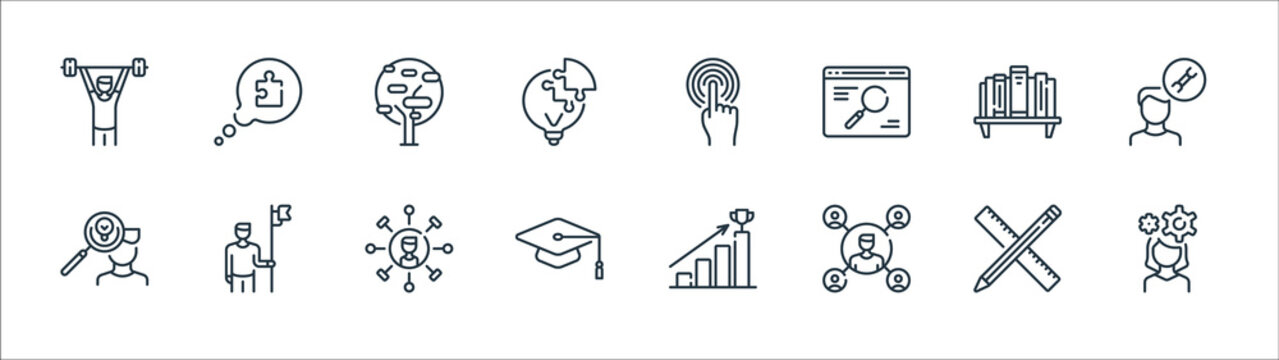 life skills line icons. linear set. quality vector line set such as woman, man, mortarboard, man, bookshelf, tree, touch, speech bubble.