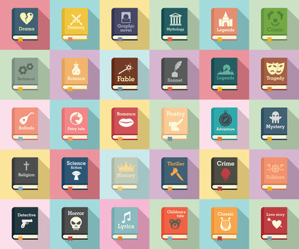Literary genres icons set. Flat set of literary genres vector icons for web design