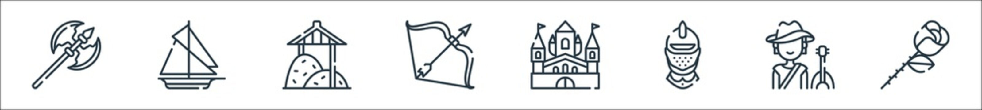 medieval times line icons. linear set. quality vector line set such as rose, bard, helmet, palace, arrows, haystack, sailing ship.