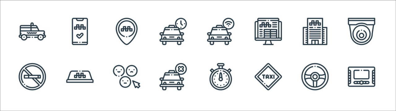 taxi service line icons. linear set. quality vector line set such as monitor, taxi, cancelled, no smoking, office, placeholder, taxi, app.