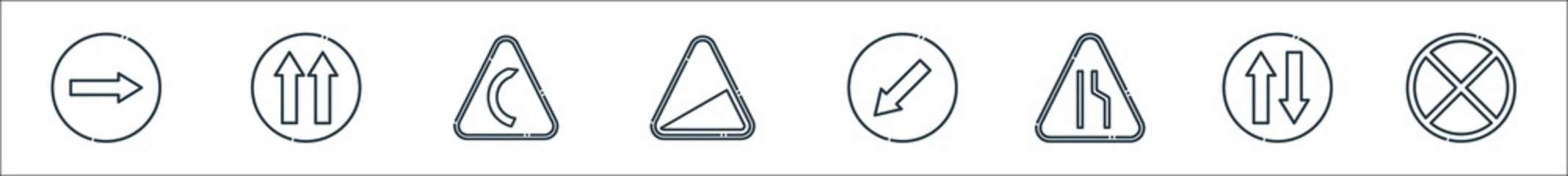 signaling line icons. linear set. quality vector line set such as no stopping, two way, narrow road, keep left, slope, right bend, one way. Wall mural