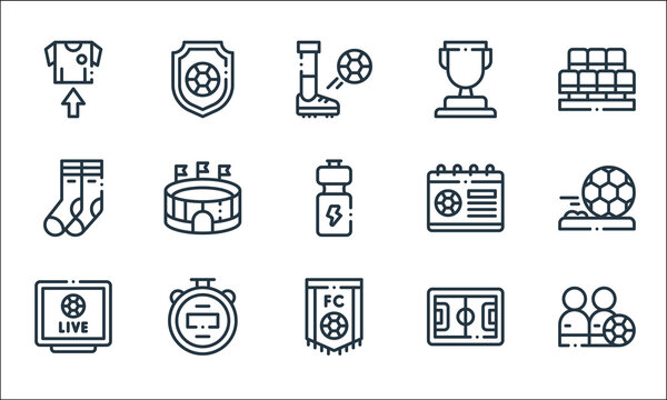 soccer line icons. linear set. quality vector line set such as players, soccer, soccer, stopwatch, socks, cup,.