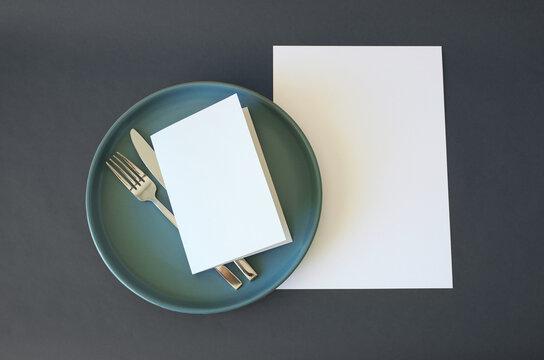Mockup Cafe Menu / Wedding Venue Event Sheet Folded Card, Knife & Fork, Plate & Blank A4 Sheet
