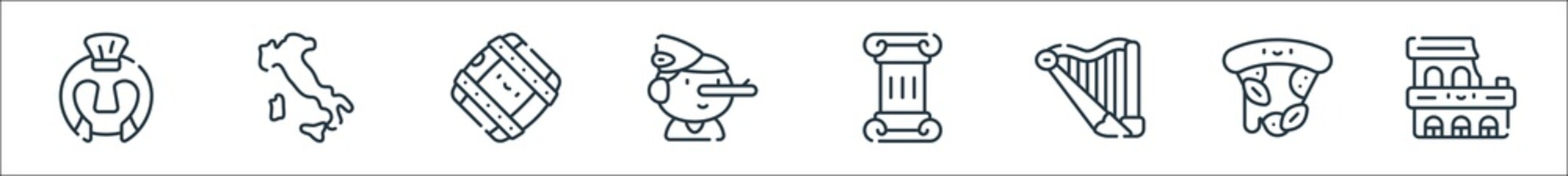 italy line icons. linear set. quality vector line set such as coliseum, pizza, harp, column, pinocchio, barrel, italy. Fototapete
