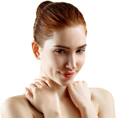 Beauty portrait of sensual redhead woman.
