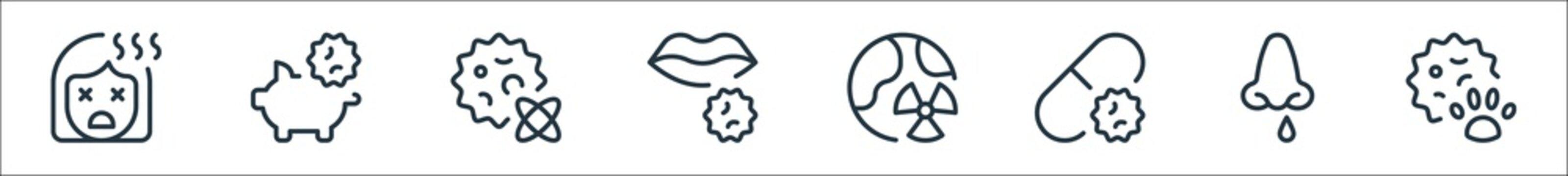 coronavirus line icons. linear set. quality vector line set such as virus, contagious illness, antivirus, world, lips, nuclear, pig.