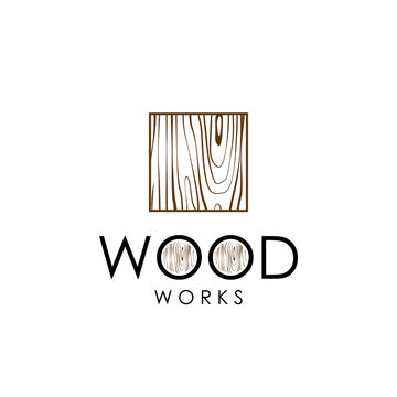 Wood work logo vector with wood pattern on square shape