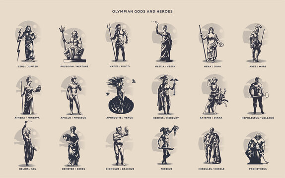 Olympic heroes. Greek and Roman gods