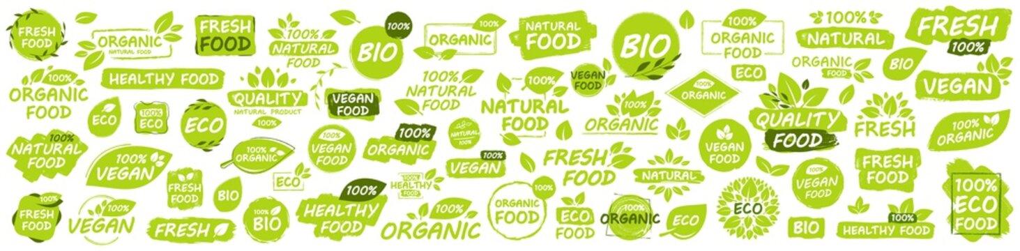 Set of Vegan, Eco, Bio, Organic, Fresh, Healthy, 100 percent, natural food. Natural product. Collection of 60 emblem, cafe, badges, tags, packaging. Vector illustration.