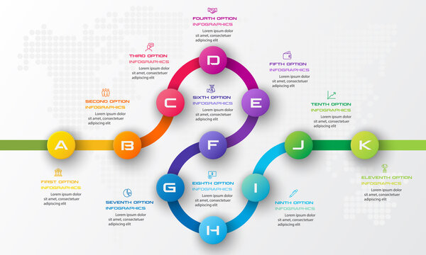 Timeline infographic template,Business concept with 11 options,Vector illustration.