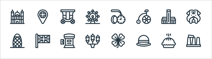 england line icons. linear set. quality vector line set such as stonehenge, bowler hat, street lights, , carriage, pocket watch, uk flag.