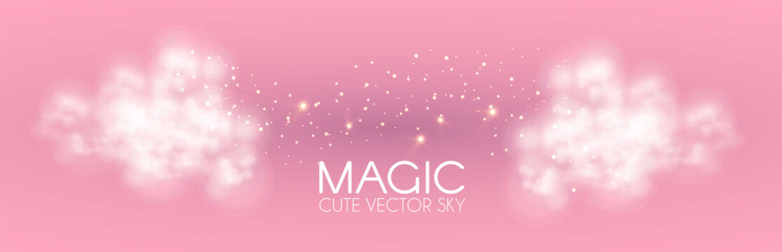 Cule clouds with gold magic glitter on pink background. Soft baby girl design. Glamour space.
