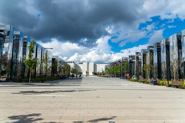 MOSCOW, RUSSIA -July 31, 2020: Khodynka field new modern area walking zone in Moscow. Modern glass and metal architecture