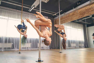 Group of charming female dancers performing pole dance tricks