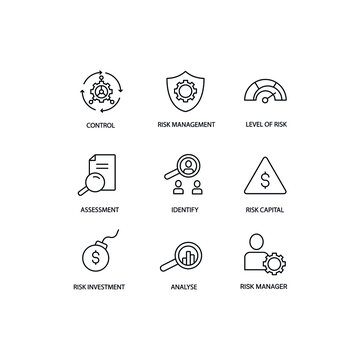 Risk managment simple thin line icon vector illustration. Control business, level of risk, assesment, identify, risk capital, risk investment, analyse, risk manager.