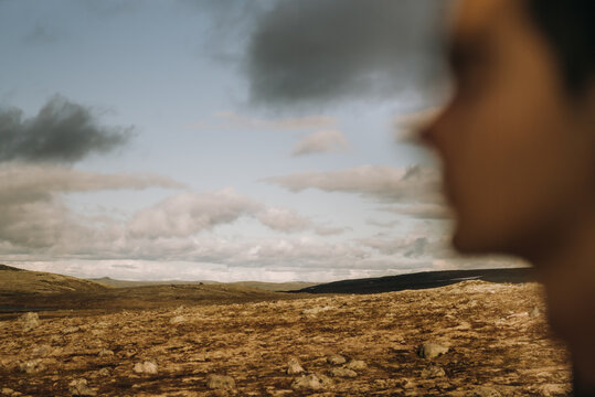 Blurred motion of woman looking at view