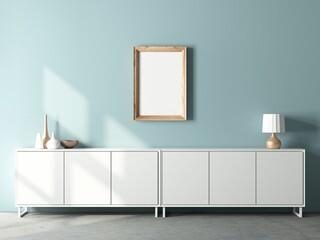 Wooden Frame Mockup hanging on blue wall above bureau, interior