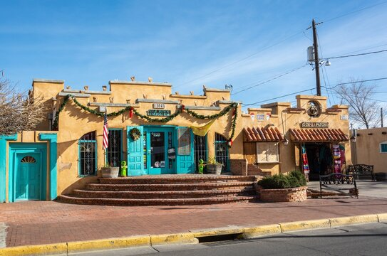 Albuquerque, New Mexico, United States of America - January 3, 2017. Historic building housing commercial properties in Albuquerque, NM