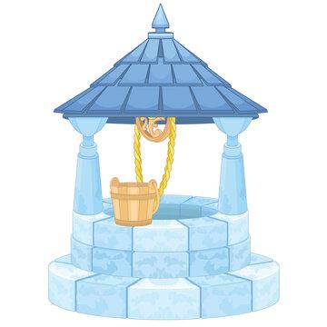 Wishing Well With Wooden Bucket