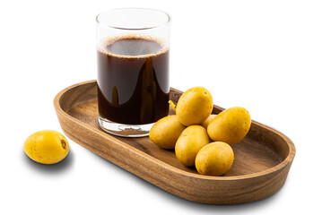 Fototapete - Homemade date juice in a glass and a bunch of fresh ripe date in a wooden tray on white background with clipping path.