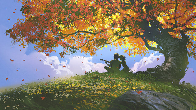 lovers sitting and playing guitar under the tree in autumn, digital art style, illustration painting