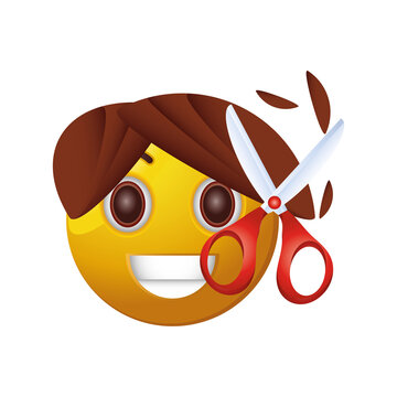 emoticon with scissors of haircut