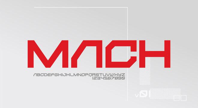 Mach, a bold and modern futuristic typeface alphabet font. vector illustration design