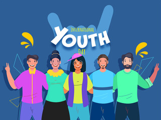 Cheerful Young People Together Taking Action On Blue Background For International Youth Day Celebration.