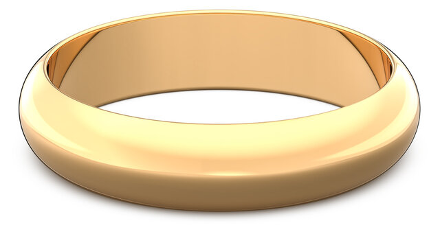 3d rendering illustration of One gold wedding ring isolated on white background