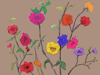 flowers sketch drawing. digital painting.
