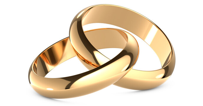 3D rendering illustration of Two gold wedding rings connected like chain links on an isolated white background