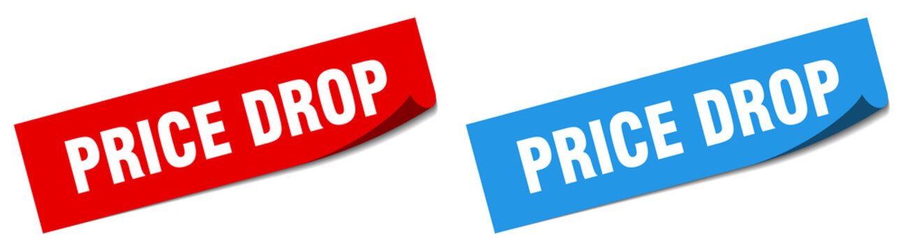 price drop paper peeler sign set. price drop sticker