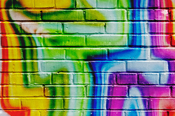 Abstract street art colorful graffiti style closeup. Modern iconic urban culture of youth. Can be...