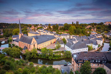 Fototapete - Luxembourg City. Aerial cityscape image of old town Luxembourg during beautiful summer sunset.