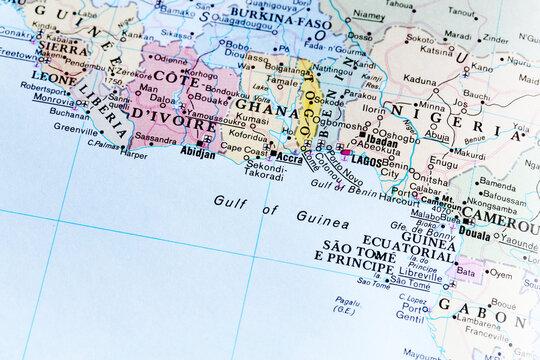 The south coast ofWest Africa atlas map with Sierra Leone, Liberia, Ghana, Ivory Coast, Niger, Togo, Benin, Guinea. Detailed macro illustration view