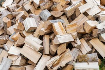 Fotobehang Brandhout textuur Dry chopped firewood wall