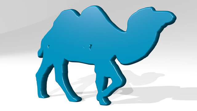 CAMEL stand with shadow. 3D illustration of metallic sculpture over a white background with mild texture. desert and animal