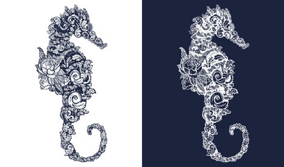 Sea horse and flowers tattoo and t-shirt design Symbol of travel, freedom, navigation. Black and white vector graphics